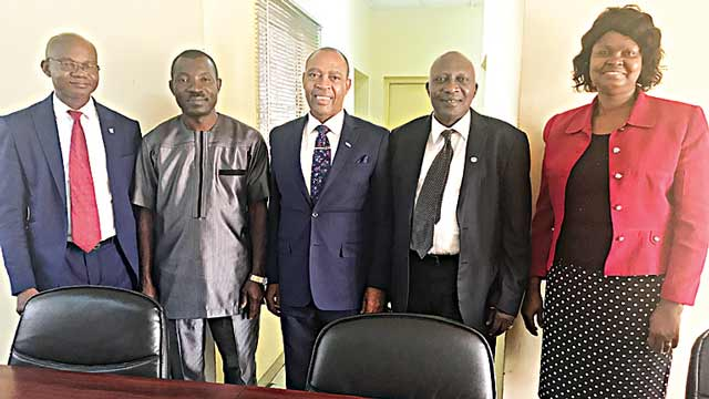 Member, Health and Managed Care Association of Nigeria (HMCAN), Dr Peter Oriavwote (Left); Member, Health Providers' Association of Nigeria (HCPAN), Gafar Madehin; HMCAN Chairman, Dr. Kolawole Owoka; HCPAN President, Dr. Umar Sanda; Executive secretary HMCAN, Mrs. Ngozi Nduka-Uba recently at the occasion of their bilateral co operation in Lagos.