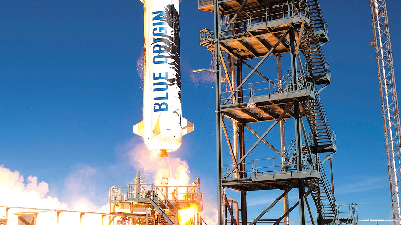 The New Shepard booster that flew to space and then landed vertically in November 2015 is pictured. 'One of the fundamental tenets of Blue Origin is that the safest vehicle is one that is robust and well understood,' said Bezos
