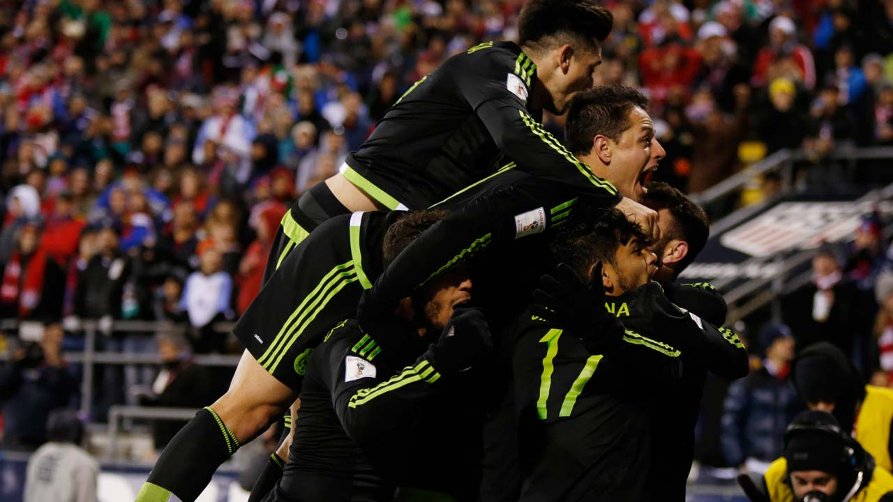 50a1f87287d Members of the Mexico men s national team celebrate Rafael Marquez s goal  against the US men s national