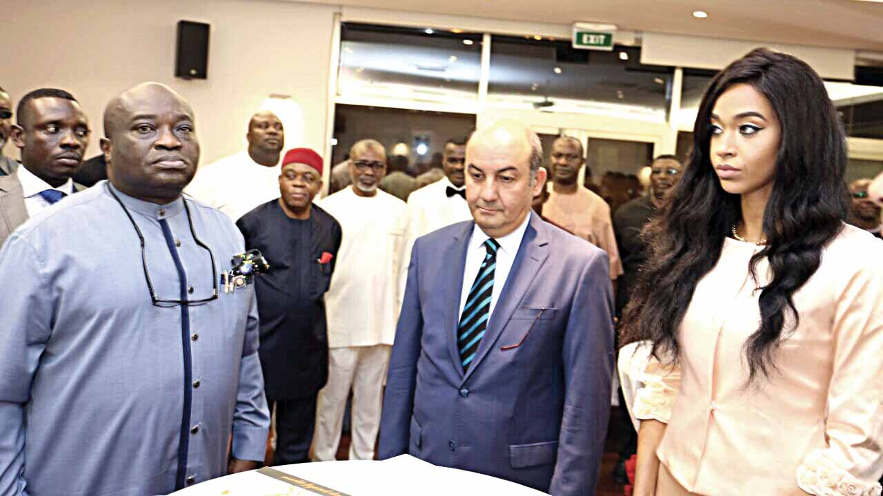 Abia State Governor, Dr. Okezie Ikpeazu (left), Turkish Ambassador to Nigeria, Mr. Hakan Cakil and Founder, IntraSolutions Consultancy, Dr. Nneka Ebru Okpe at the event.