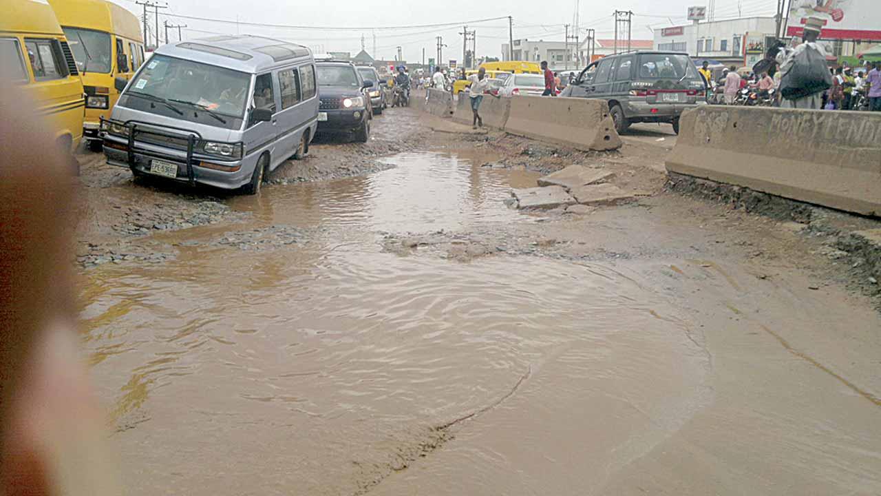 Failed portions along Lagos Abeokuta express way