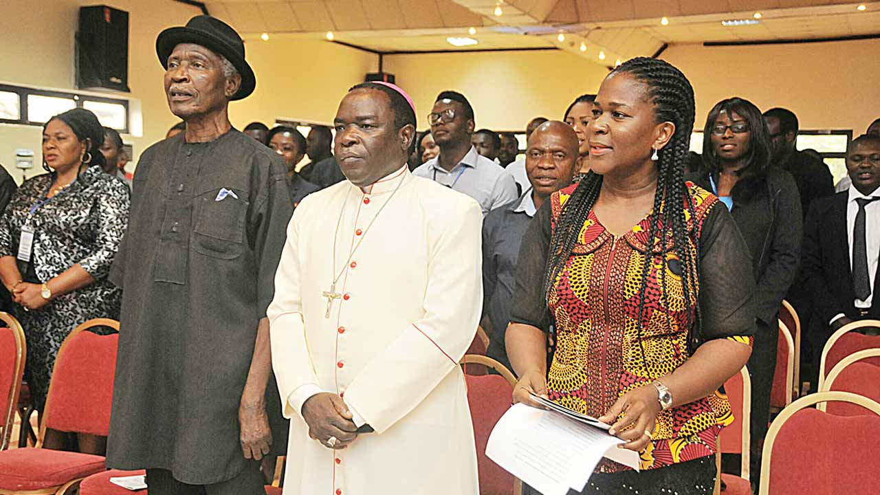 Special Guest Writer, Captain Elechi Amadi; keynote speaker, Bishop Mathew Kukah and Festival Director, Mrs. Koko Kalango, at the opening ceremony of Port Harcourt Book Festival 2014