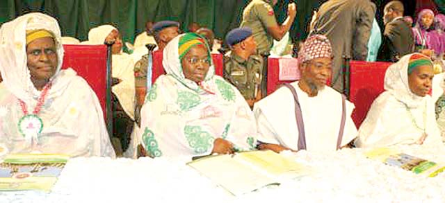 Former Deputy Governor of Lagos Sate, Alhaja Lateefa Okunnu (left); the incumbent Deputy Governor, Dr Idiat Oluranti Adebule, Governor of Osun State, Ogbeni Rauf Aregbesola, and the National Amira of the Federation of Muslim Women Association of Nigeria (FOMWAN), Hajia Amina Omoti, during the 31st Annual National Conference of the associationin Lagos.