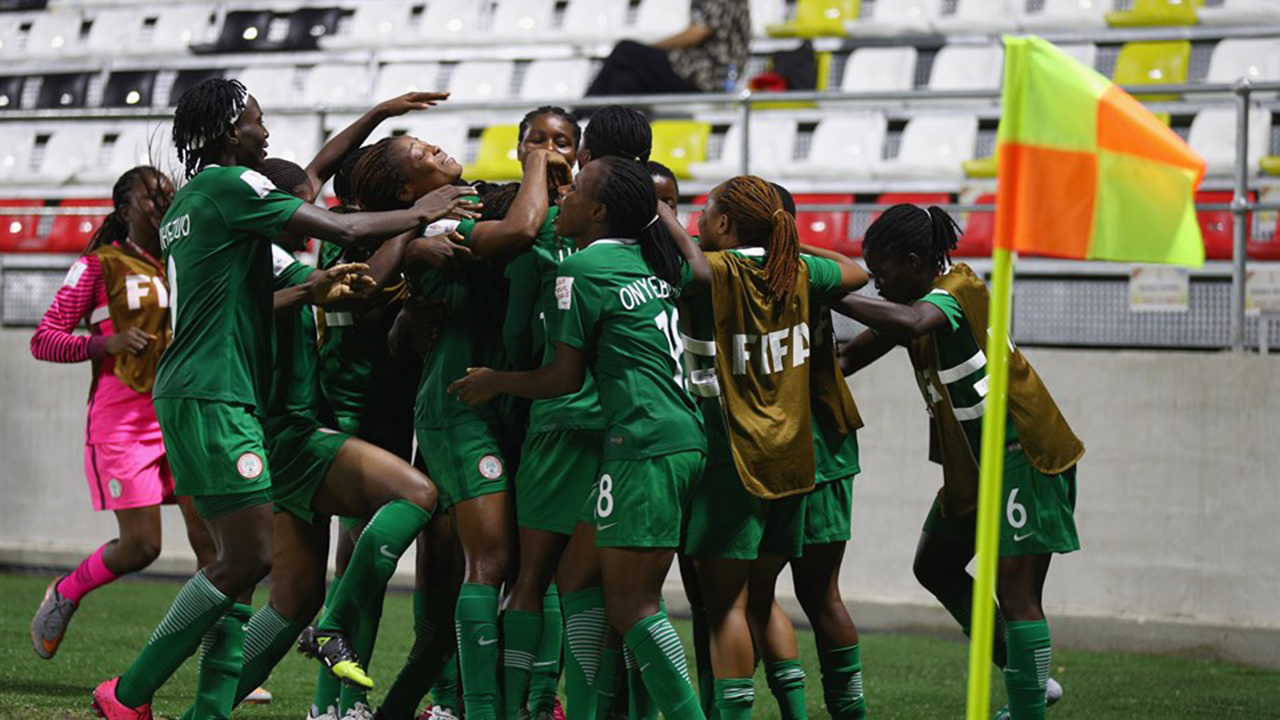 Joy Ebinemiere Bokiri of Nigeria celebrates scoring a goal during the FIFA U-20 Women's World Cup, Group B match between Nigeria and Canada at Bava Park on November 16, 2016 in Port Moresby, Papua New Guinea. PHOTO: Ian Walton - FIFA/FIFA via Getty