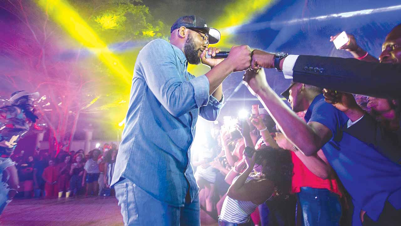 Falz in performance at the party.