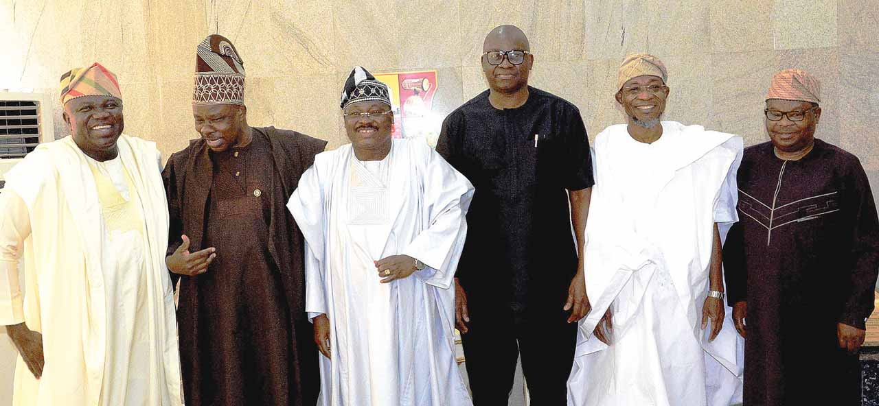 Governors Akinwunmi Ambode of Lagos State; Ibikunle Amosun of Ogun; Abiola Ajimobi of Oyo; Ayodele Fayose of Ekiti; Rauf Aregbesola of Osun; and Secretary to the Ondo State Government, Rotimi Adeola, at the South West Governors' Economic Summit in Ibadan...yesterday