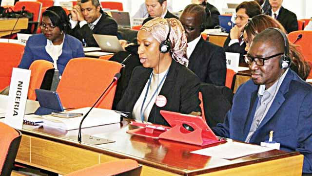 Managing Director, Nigerian Ports Authority (NPA), Ms Hadiza Bala Usman (left) and Nigeria's Deputy Alternate Permanent Representative to  International Maritime Organisation (IMO), Anas Suleiman at the just concluded 24th Assembly in London.
