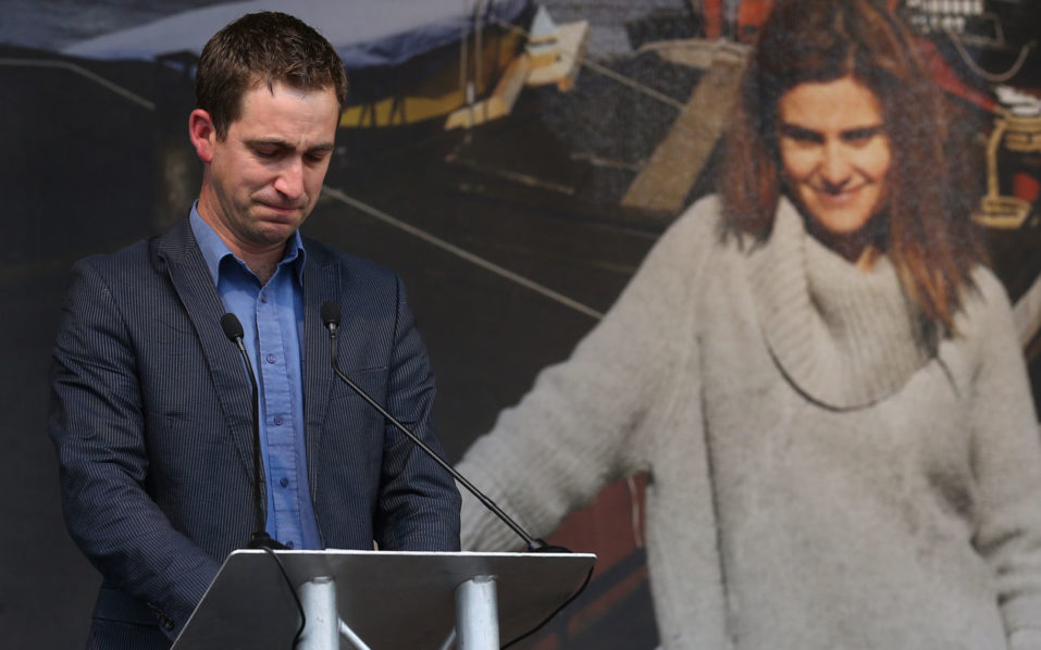widower of murdered Labour MP Jo Cox, Brendan Cox, speaking at an event to celebrate Jo Cox's life in Trafalgar Square, central London on what would have been Jo's 42nd birthday. Far-right extremist Thomas Mair has been found guilty of murdering Labour MP Jo Cox on November 23, 2016. / AFP PHOTO / JUSTIN TALLIS