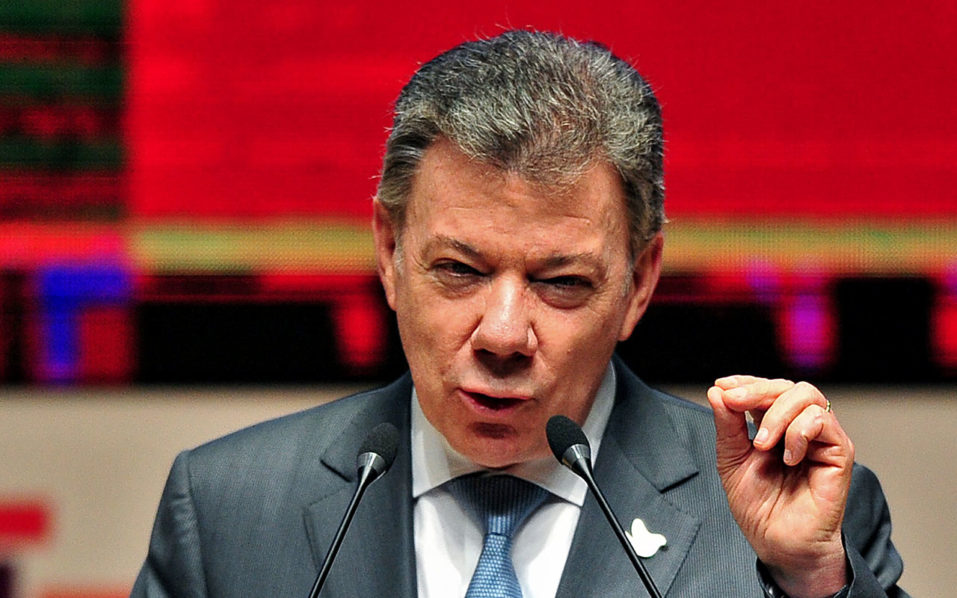 Colombia's President Juan Manuel Santos. / AFP PHOTO / RAFAEL ZARAUZ