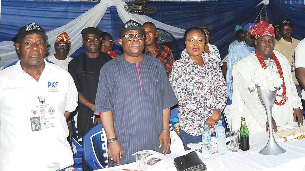 PKF's Olatunji Ogundehin (left); President, Lagos Country Club Ikeja, Chief Kayode Moradeyo and his wife; as well as the special guest of honour, Oba Kamila Oyedeji Isiba of Agege Kingdom, at the closing ceremony of the 25th Quadrangular Games… on Saturday.