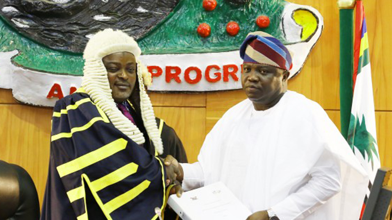 The Lagos State Governor, Mr. Akinwunmi Ambode (right), with the Speaker, Lagos House of Assembly, Mudashiru Obasa  at the presentation of the 2017 Budget Estimates at the Assembly Complex in Alausa, Ikeja, on November 29, 2016.
