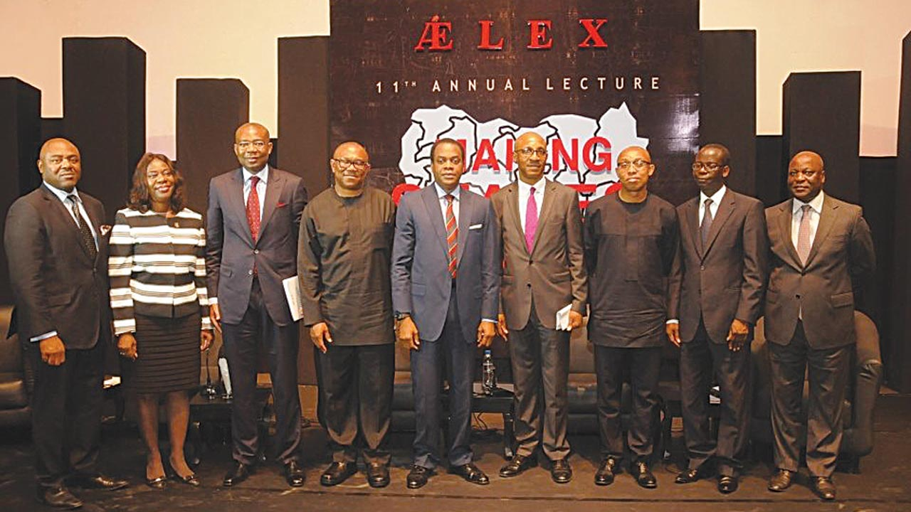 Aelex Partner,Mr. Fubara Anga (left); Mrs Funke Adekoya (SAN); Aigboje Aig-Imoukhuede, president, Nigerian Stock Exchange; Mr. Peter Obi, former governor, Anambra State; erstwhile Cross River helmsman, Mr. Donald Duke; Theophilus Emuwa; Prof. Chidi Odinkalu; Mr. Isaac Babatunde and Mr.Soji Awogbade during the firm's 11th annual lecture with the theme, 'Making States Work' in Lagos.