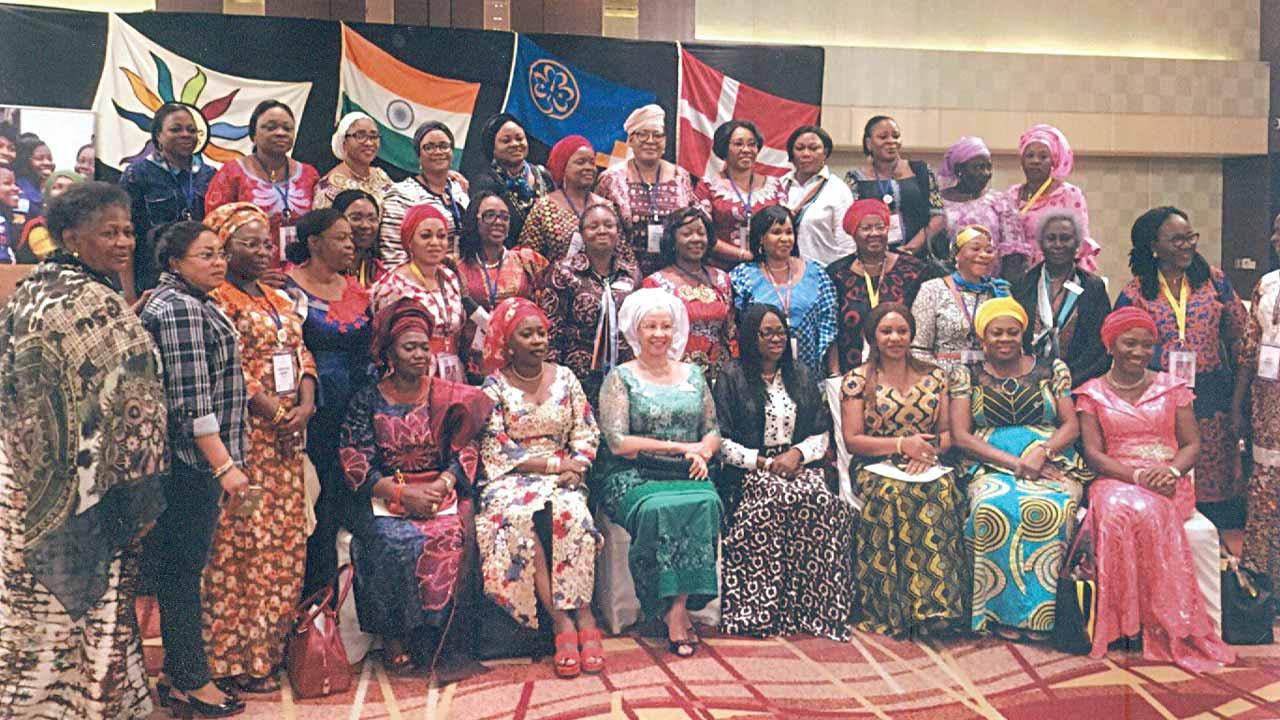 The newly-elected  President of OB-PS, Chief (Mrs.) Marlies Allan (middle),  wife of Lagos State Governor, Mrs. Bolanle Ambode; wife of former Lagos State Governor, Dame Abimbola Fashola; Lady Gbemi Smith; Mrs. Gbemi Shasore; Mrs. Cecilia Aqua-Umoren; Mrs. Jumoke Adesina; Mrs. Yoyinsola Makanjuola, Hahia Bintu Tinubu and other Nigerian delegates at the  event held in Pune, India...