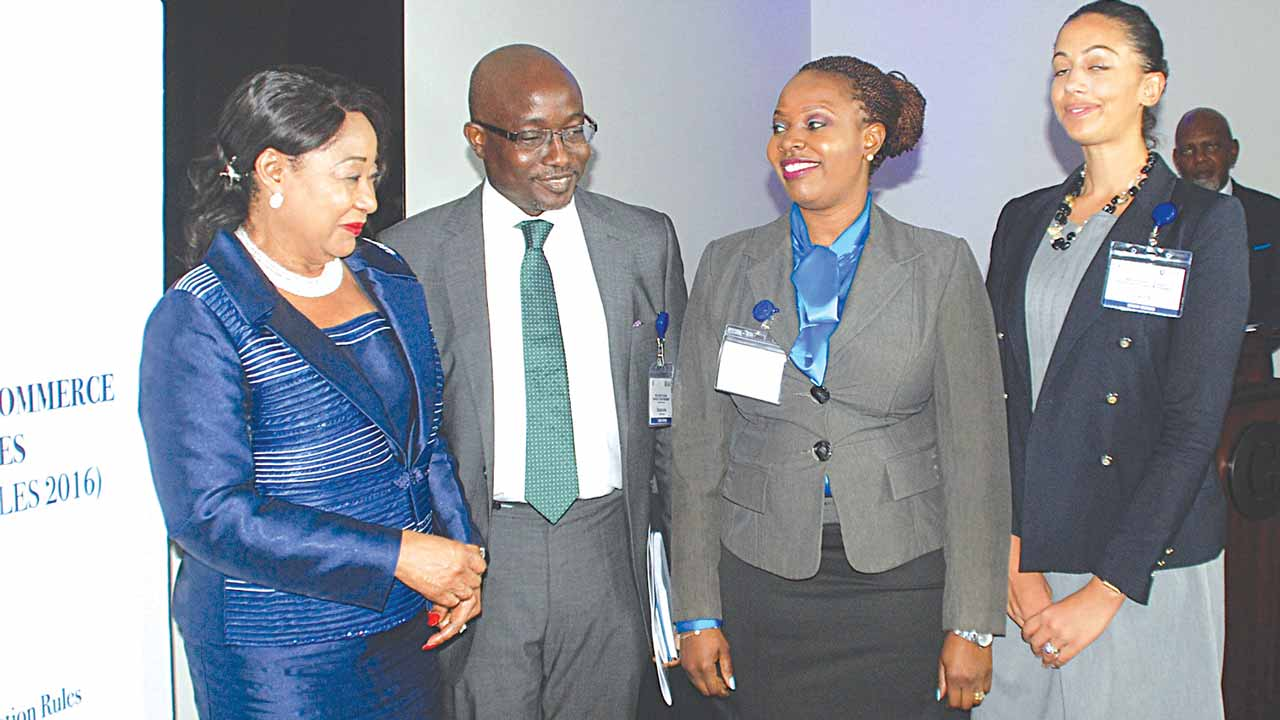 President, Lagos Chamber of Commerce and Industry, Mrs, Nike Akande (left); Chairman, Board of Governors, Lagos Chamber of Commerce International Arbitration Centre, (LCCIAC), Babatunde Fagbohunlu; Executive Secretary, (LCCIAC), Mrs, Foluke Akinmoladun and Member of the Board, Laurie Coleman at the formal Launch of LCCIAC in Lagos.