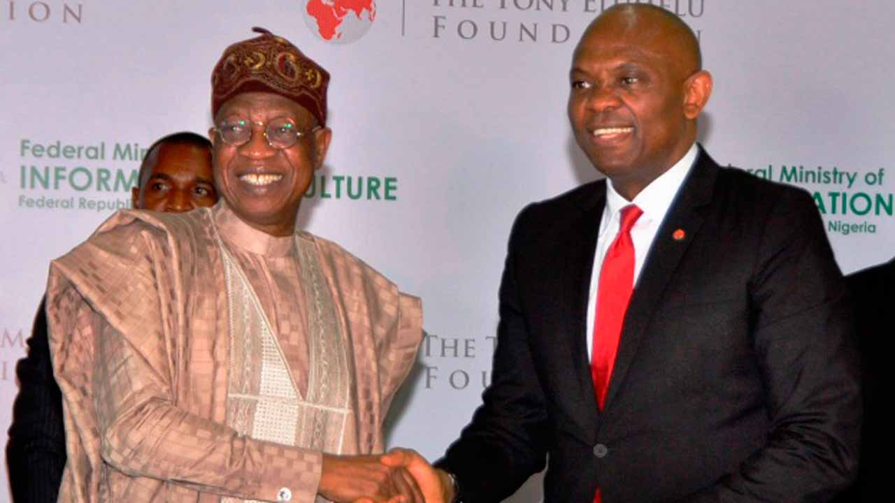 Minister of Information and Culture, Alhaji Lai Mohammed, and Chairman, United Bank for Africa and Tony Elumelu Foundation, Mr. Tony Eleumelu, at the signing of MoU in Lagos for easy access to finance facility for the creative industry a few months ago