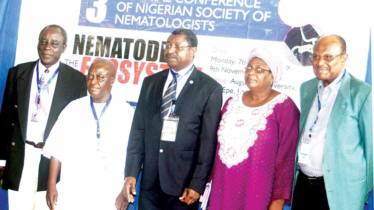 "President, Nigerian Society of Nematologists (NISON), Prof. Dele Fawole (left); guest speaker, Paul Chindo; Vice Chancellor, Augustine University, Prof. Steve Afolami; his wife and Pro-Chancellor, Gilbert Grant; during NISON's third biennial conference with the theme, ""Nematodes and the Ecosystem"" in Ilara Epe, Lagos."