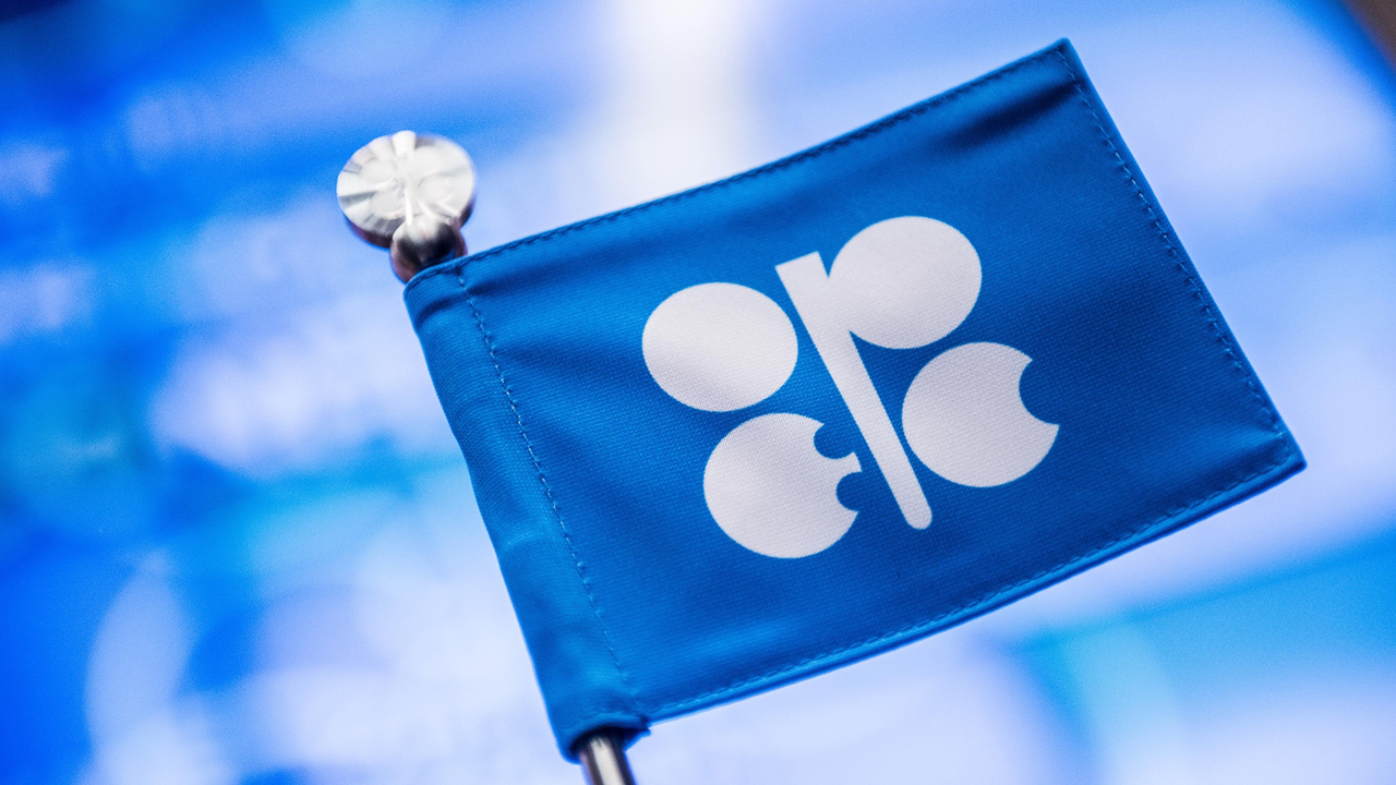 An OPEC branded flag sits on a table ahead of the 169th Organization of Petroleum Exporting Countries (OPEC) meeting in Vienna, Austria. PHOTO: Akos Stiller/Bloomberg via Getty Images