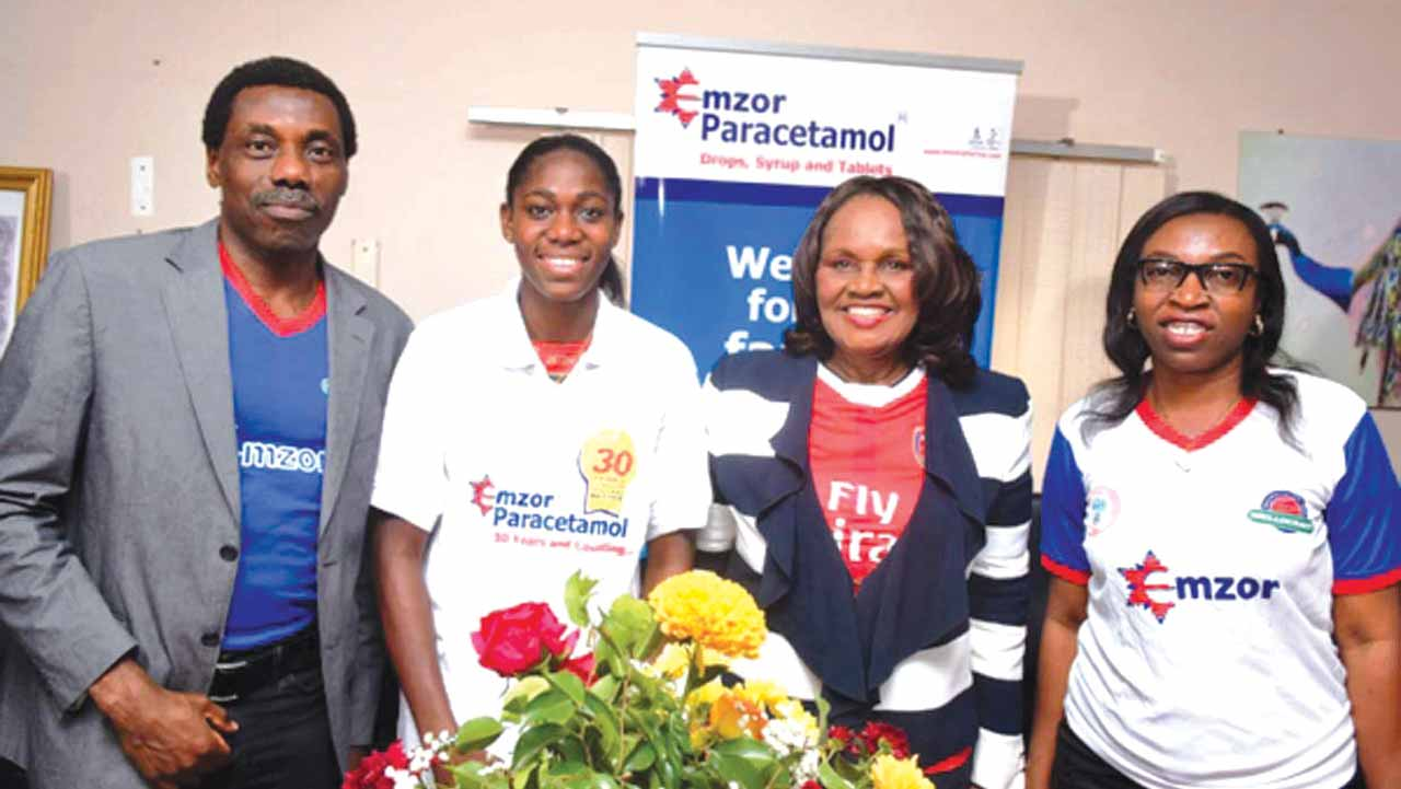 From Right: Nkeiru Okoro, Executive Director (Operations), Dr. Stella Okoli, Group Managing Director of Emzor Pharmaceuticals; Asisat Oshoala,Nigerian Female Football International and Muyiwa Kayode, CEO of USP Brand Management at presentation of Oshoala as Emzor Ambassador recently in Lagos.