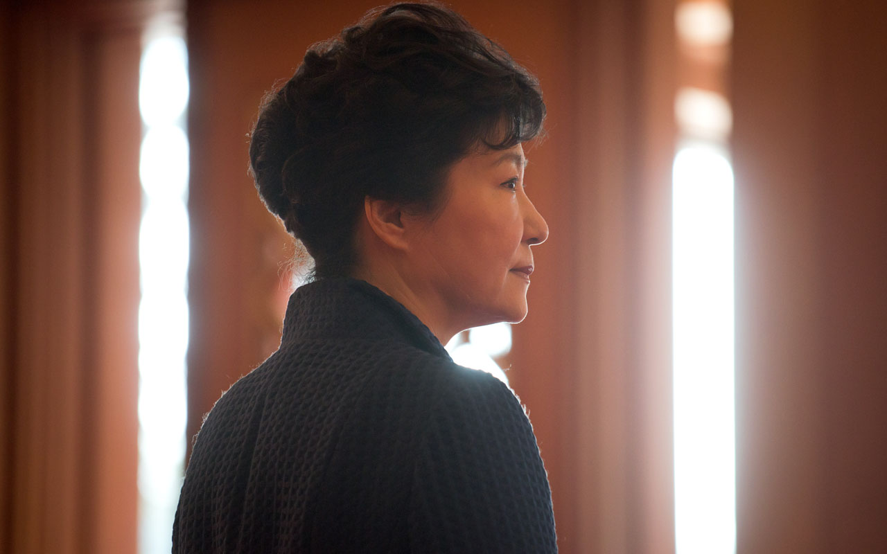 South Korea's President Park Geun-Hye at the presidential Blue House in Seoul. Park was to address the nation on November 4, 2016 over a corruption scandal that has engulfed her administration and triggered the arrest of a close personal friend accused of meddling in state affairs. / AFP PHOTO / ED JONES