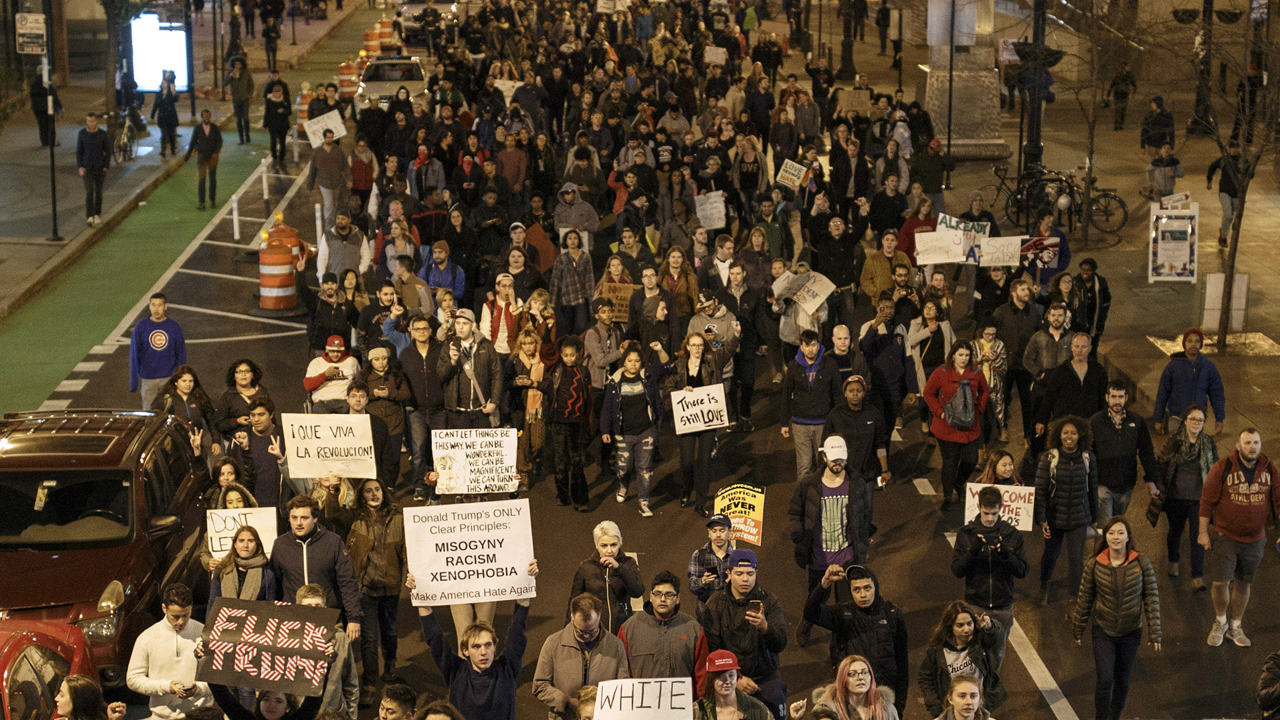 CHICAGO, IL - NOVEMBER 09: Anti-Trump Demonstrators protest on November 9, 2016 in Chicago, Illinois. Thousands of people across the United States took to the streets in protest a day after Republican Donald Trump was elected president, defeating Democrat Hillary Clinton. John Gress/Getty Images/AFP