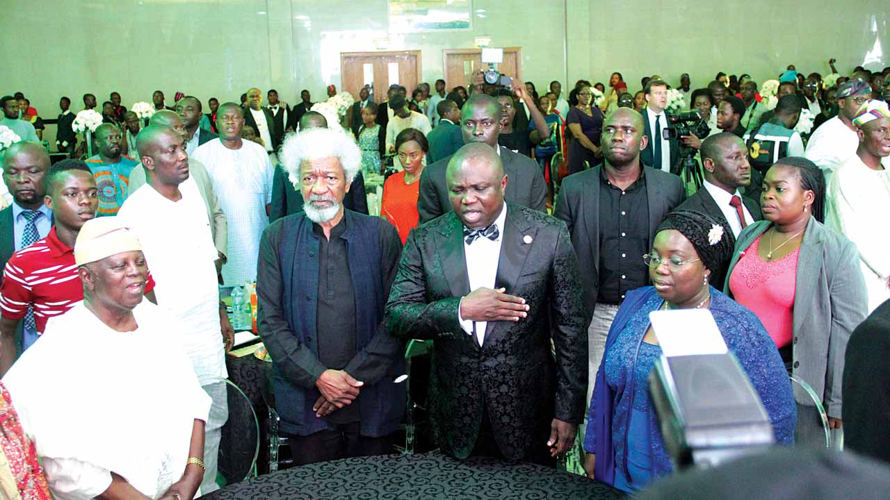 Lagos State governor, Akinwunmi Ambode (second right), his Deputy Governor Oluranti Adebule (first right), the late Chief Gbadamosi (first left) and Prof. Wole Soyinka at the opening of of Lagos@50 event