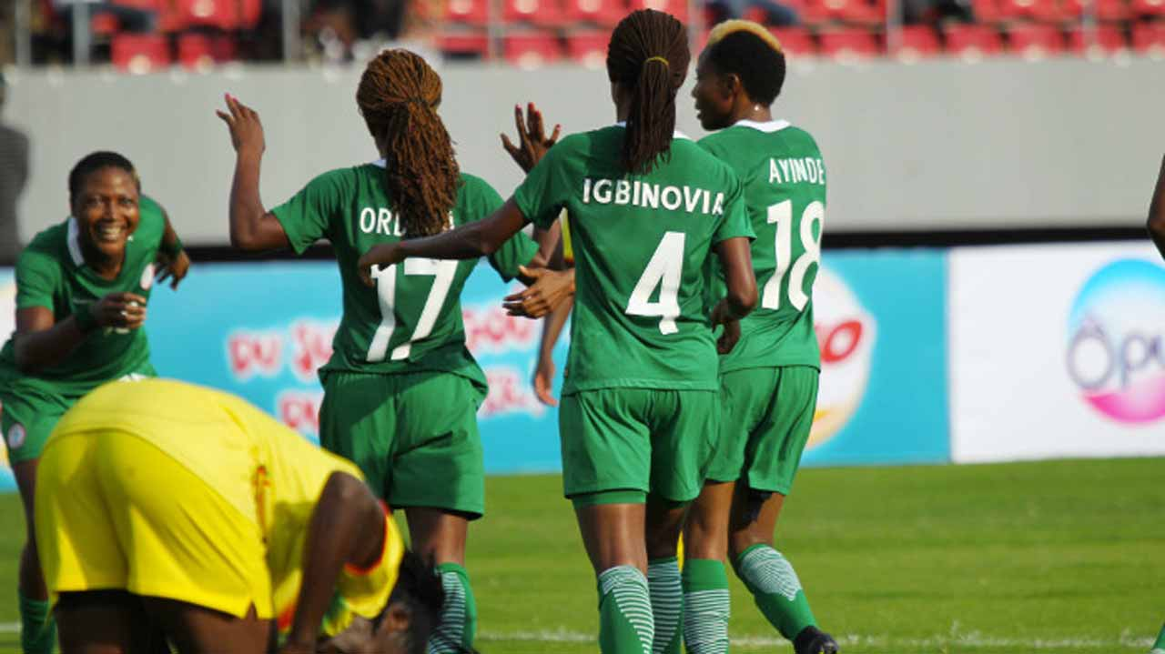Super Falcons celebrating after scoring a goal against Mali at the 2016 African Women Cup of Nations (AWCON) in Limbe, Cameroon. PHOTO: CAF