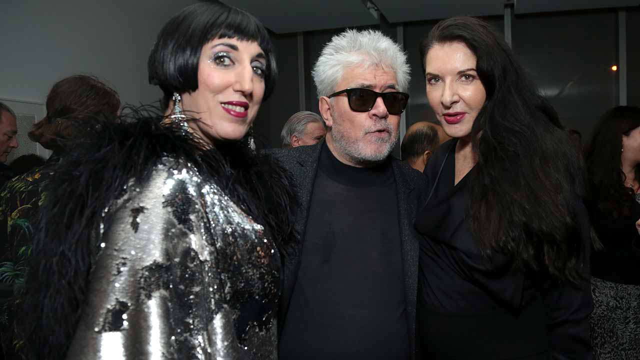 NEW YORK, NY - NOVEMBER 29: (L-R) Actress Rossy de Palma, director Pedro Almodovar, and actress Marina Ambramovic attend the Pedro Almodovar Retrospective Opening Night at the Museum of Modern Art on November 29, 2016 in New York City. Jason Carter Rinaldi/Getty Images for Museum of Modern Art, Department of Film/AFP Jason Carter Rinaldi / GETTY IMAGES NORTH AMERICA / AFP