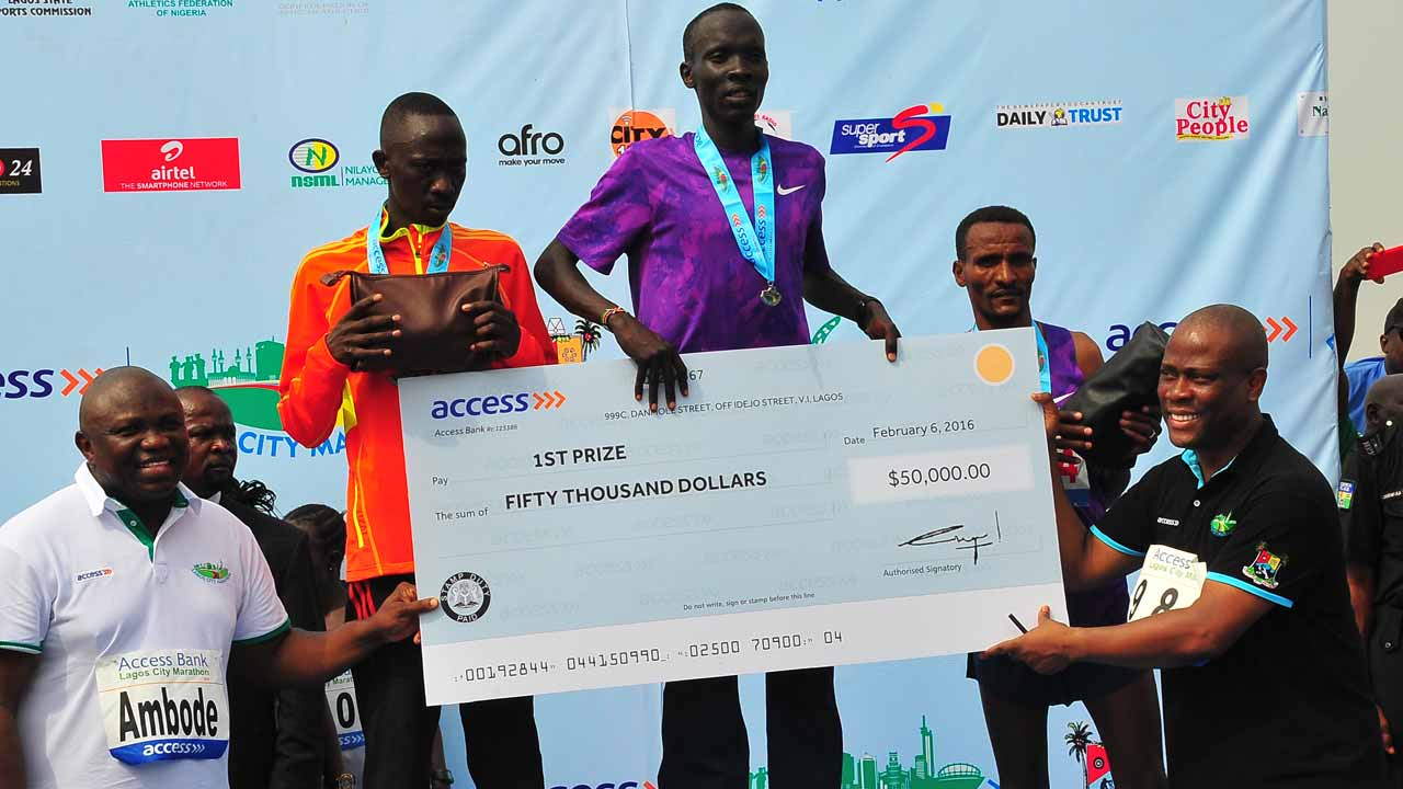 Kenya's Kiptum Wins Lagos City Marathon in 2016.