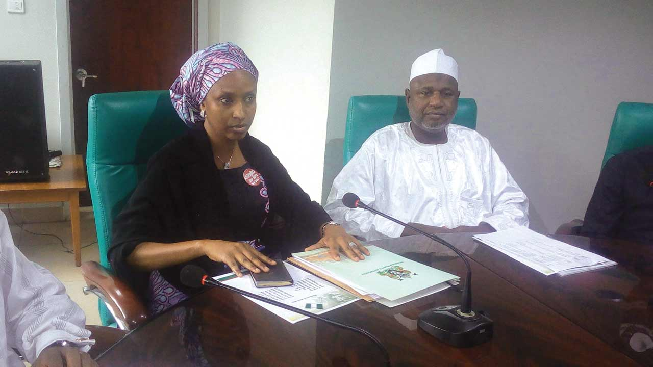 Managing Sirector, Nigeria Ports Authority (NPA), Hadiza Bala Usman (left); and the Chairman Senate Committee on Marine Transport, Ahmad Sanni, during an oversight function to the headquarters of NPA in Lagos.