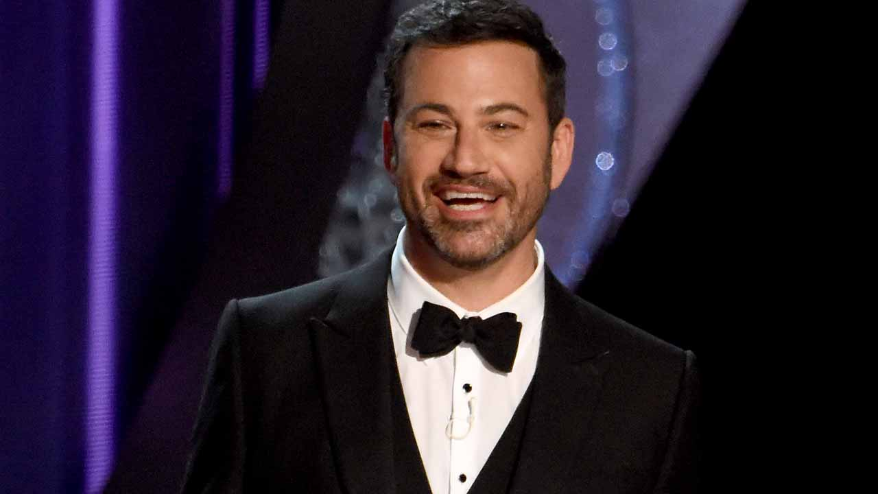 (FILES) This file photo taken on September 18, 2016 shows TV host Jimmy Kimmel during the 68th Emmy Awards show at the Microsoft Theatre in downtown Los Angeles. Late night talk show host Jimmy Kimmel will host the 89th Oscars in February, sources at the Academy of Motion Picture Arts and Sciences were reported as saying on December 5, 2016. His selection is expected to be announced imminently by Michael De Luca and Jennifer Todd, who were tapped last month to produce the ceremony, according to multiple media outlets. The Academy did not respond immediately to requests for confirmation of Kimmel's selection to front the show, which airs live on ABC on February 26. PHOTO: Valerie MACON / AFP