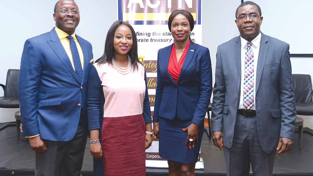 President, Association of Corporate Treasurers of Nigeria (ACTN); Ishmael Nwokocha (left), members; Dara Ogunseinde and  Tumi Sekoni, Executive Secretary/CEO; Patrick Ajunwoko during the association's breakfast meeting held in Lagos.