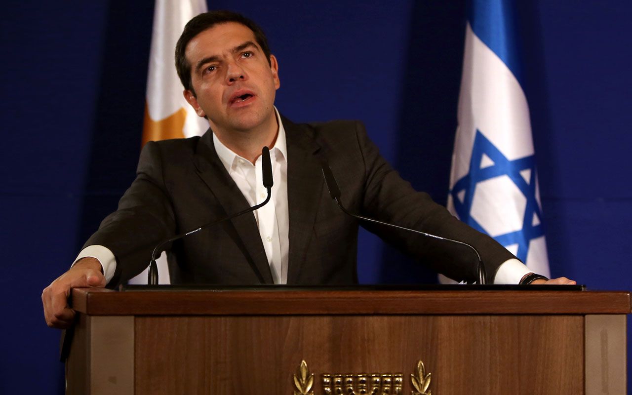 Greek Prime Minister Alexis Tsipras / AFP PHOTO / GALI TIBBON