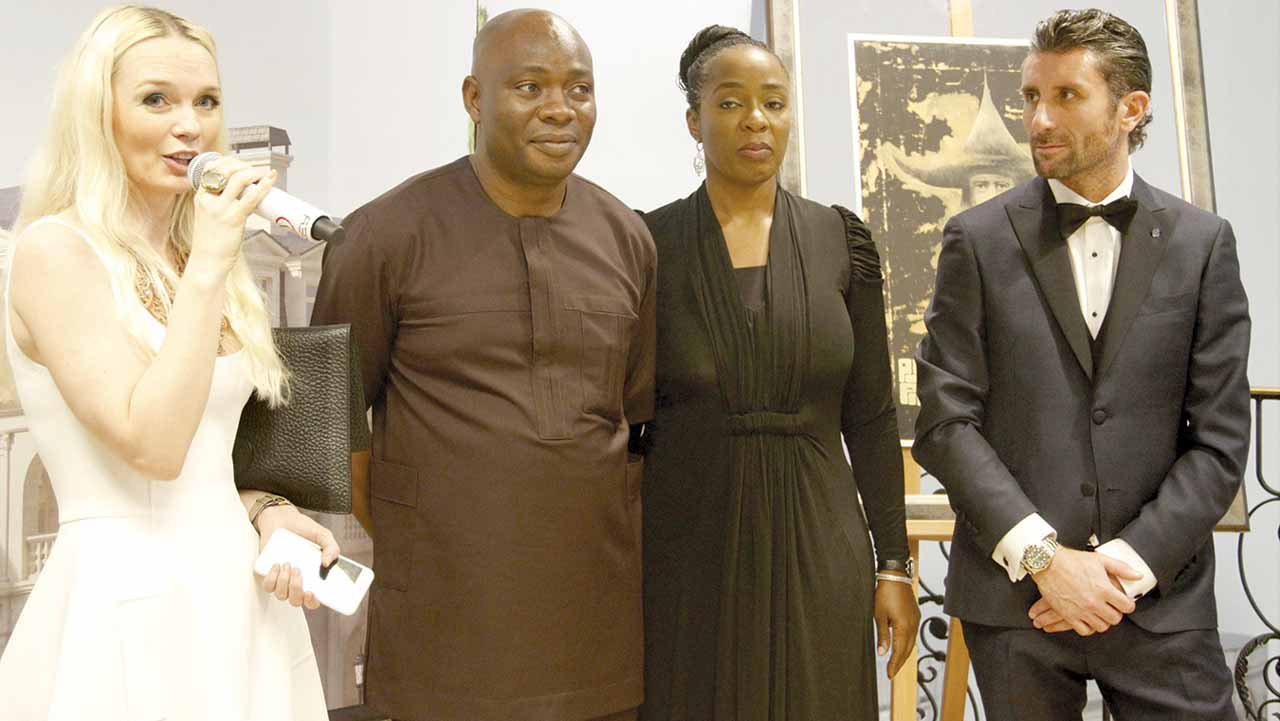 Managing Director, Alter Ego, Julia Lantieri; Chief Executive Officer/Managing Director, IL Bagno, Michael Owolabi; Executive Director, IL Bagno, Adetola Owolabi and Chief Executive Director/Sales Director, Alchymia, Davide Doro during the opening ceremony of Alter Ego in Abuja PHOTO LUCY LADIDI ELUKPO