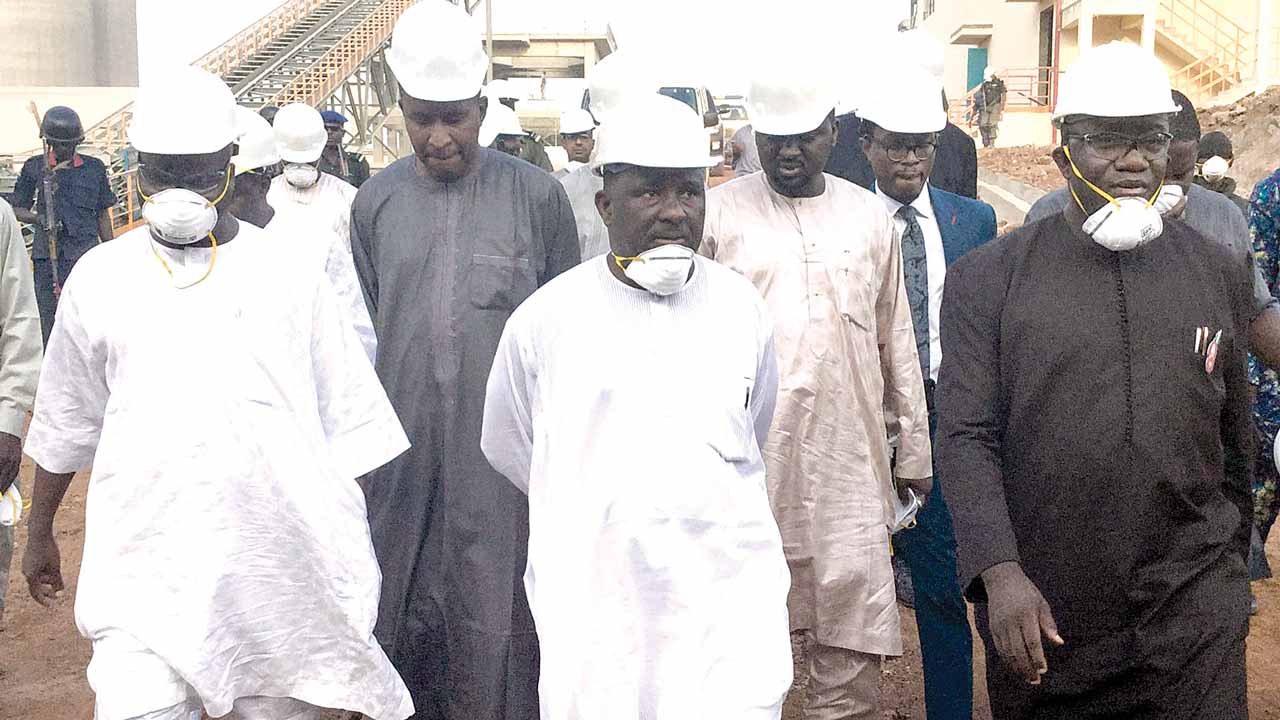 Hon. Minister of State for Solid Minerals Development, Abubakar Bawa Bwari (left); Managing Director, CCNN Plc, Ibrahim Aminu; Group Executive Director, BUA Group, Kabiru Rabiu; Executive Chairman, BUA Group & Chairman CCNN Plc, Abdulsamad Rabiu; and Hon. Minister for Solid Minerals Development, Dr. Kayode Fayemi, during a high-level working visit to BUA Group's Cement Subsidiary, CCNN Sokoto Cement plant yesterday