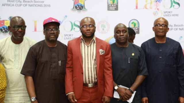 Senior Special Assistant to the State Governor on Sports, Mr. Anthony Adeboye (left); Commissioner for Information and Strategy, Mr. Steve Ayorinde; Chairman, House Committee on Youth, Sports and Social Development, Adedamola Kasunmu; Special Adviser on Sports and Chairman, Lagos Sports Commission, Mr. Deji Tinubu; and Dr. Kweku Tandoh at the unveiling of the programme for the 2016 African Beach Soccer Nations Cup in Lags… at the weekend.