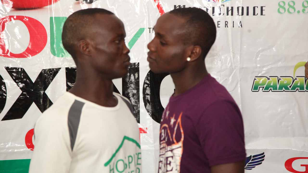 Nurudeen 'Prince' Fatai squares up to Oto 'Joeboy' Joseph ahead of their GOtv Boxing Night 10 clash at the National Stadium, Lagos… on December 26.