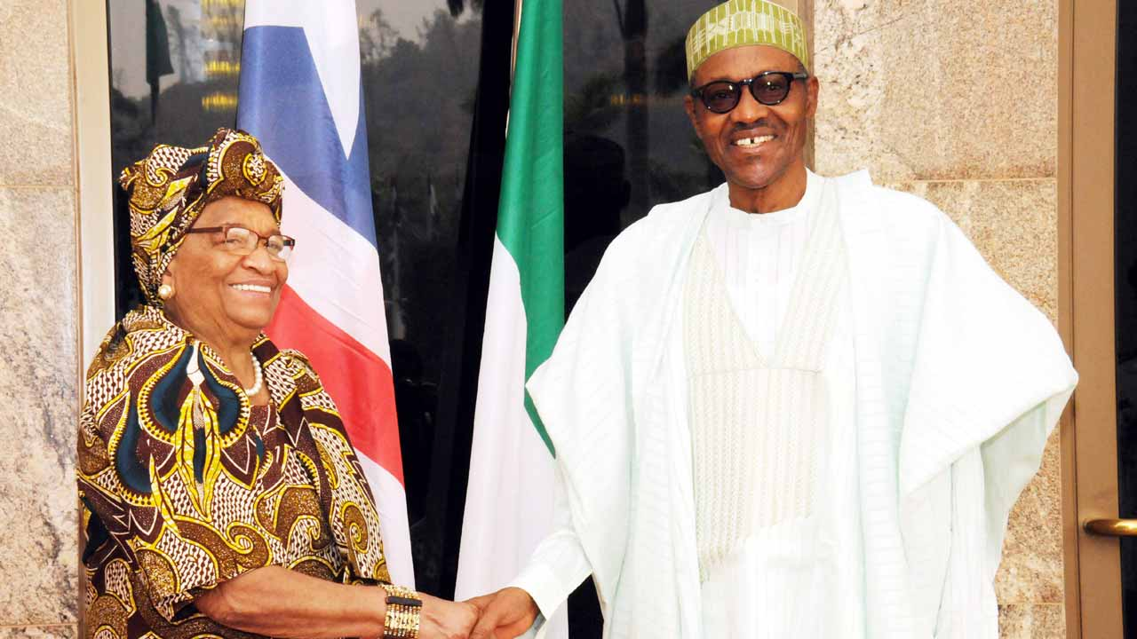 President Muhammadu Buhari and his Liberian counterpart President Ellen Johnson Sirleaf in Abuja.