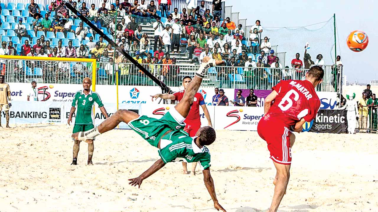 A player of Sand Sand Eagles of Nigeria in action at the 2015 Copa Lagos beach soccer tournament. All is set for the 2016 edition.