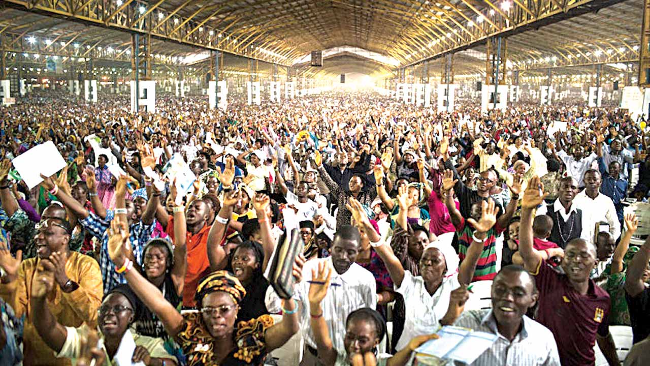 A cross section of worshippers at the Redemption Camp