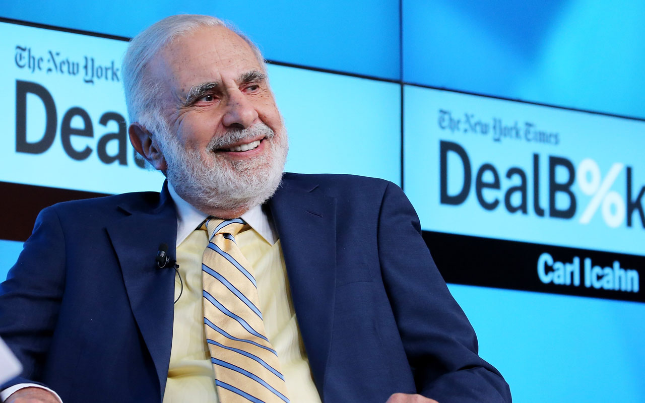 "Chairman of Icahn Enterprises Carl Icahn participating in a panel discussion at the New York Times 2015 DealBook Conference at the Whitney Museum of American Art in New York City. President-elect Donald Trump said December 21, 2016 he is naming billionaire Carl Icahn, a vocal critic of government overregulation, to serve as a special advisor to overhaul ""strangling regulations."" The 80-year-old Icahn, who is known as aggressive, activist investor in the companies he is involved with, will not be a government employee, will not receive a salary and will not be bound by ethics rules requiring him to divest his investments. / AFP PHOTO / GETTY IMAGES NORTH AMERICA / Neilson Barnard"