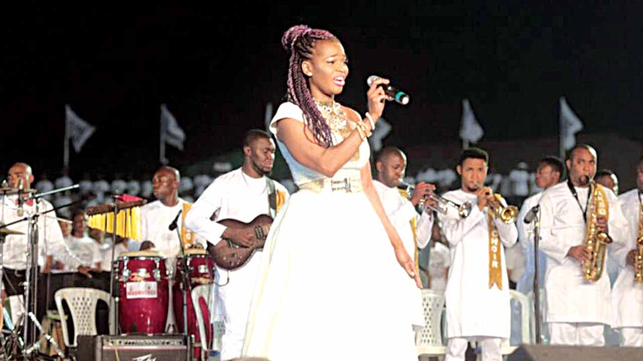 Ekpo during one of her performances at the festival