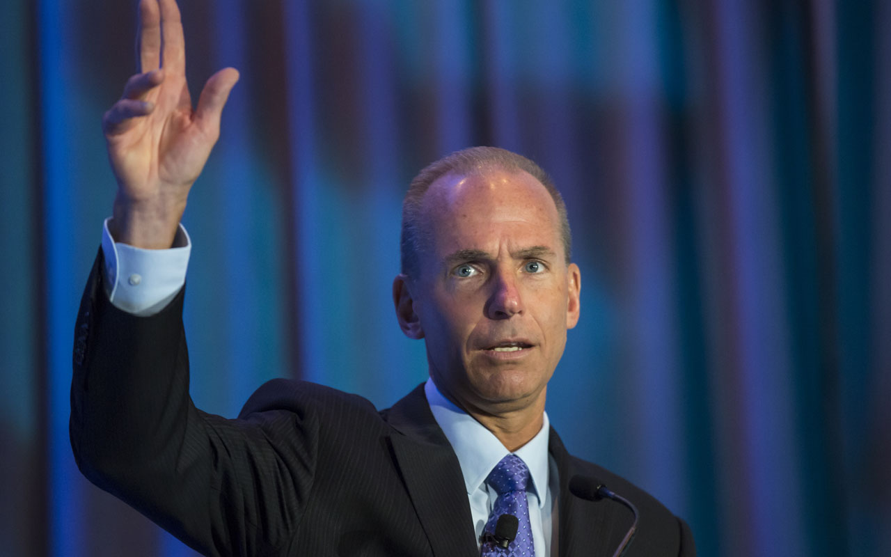 "(FILES) This file photo taken on September 21, 2015 shows Boeing CEO Dennis Muilenburg during the SAE Aerotech Congress in Seattle, Washington. Boeing has pledged to control costs on the redesign of Air Force One after President-elect Donald Trump blasted the aerospace giant for the ballooning expenses, a company spokesman said December 7, 2016. Boeing chief executive Dennis Muilenburg reassured Trump in a phone call Tuesday night about its commitment to keeping a tight rein on costs for the presidential plane, after the president-elect earlier in the day tweeted that the price tag was ""out of control."" ""Muilenburg congratulated Mr. Trump on his election win and committed to working with the new administration to control costs as they establish requirements for the new Air Force One to keep the program as affordable as possible and deliver the best value to American taxpayers,"" a Boeing spokesman told AFP. / AFP PHOTO / GETTY IMAGES NORTH AMERICA / STEPHEN BRASHEAR"