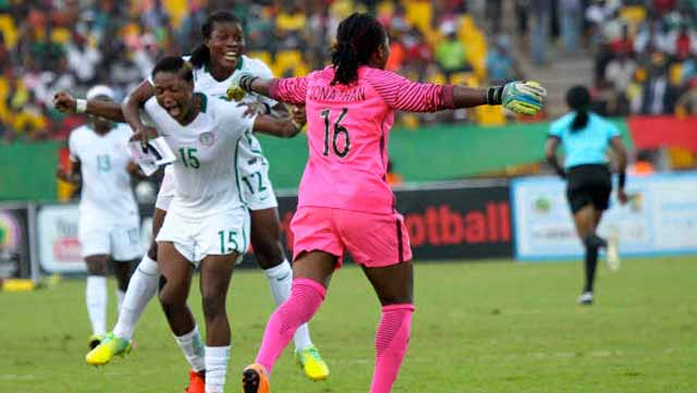The Super Falcons celebrating their 10th African Women Nations Cup victory after beating Cameroun 1-0 in the final in Yaoundé… on Saturday. PHOTO: CAF.
