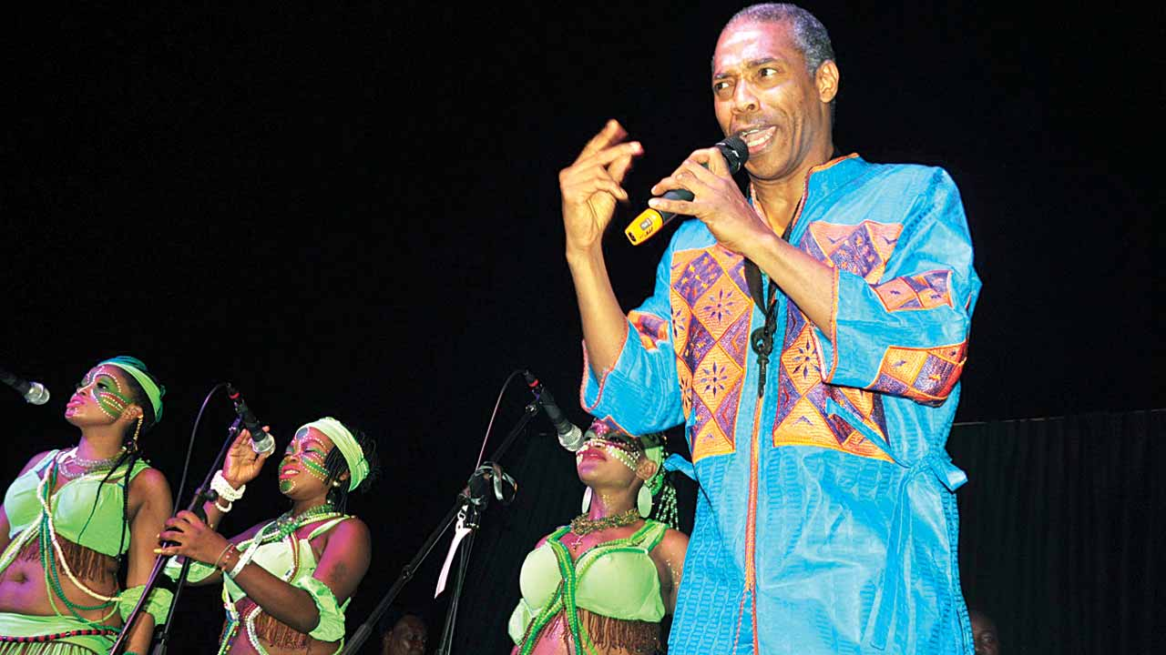 Femi Kuti performing at the concert in Abuja.