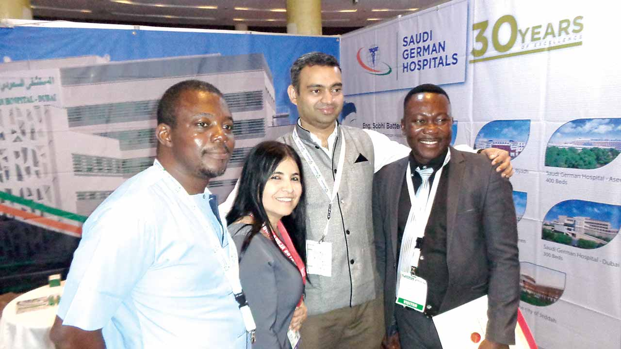 International Patients Coordinator, Semira Dikbas and Manager, Business Development International, Saudi German Hospital, Dubai,  Dr. George Davis, flanked by guests at Medic West Africa exhibition, held  recently in Lagos.