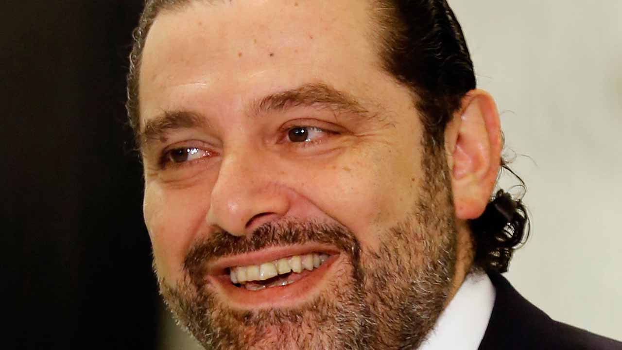 (FILES) This file photo taken on November 3, 2016 shows Lebanon's new Prime Minister Saad Hariri speaking to journalists following his nomination at the presidential palace in Baabda, near Beirut. Lebanon acquired a new 30-minister government on December 18, 2016 led by Saad Hariri, bringing together the entire political spectrum except for the Christian Phalangist party that rejected the portfolio it was offered. ANWAR AMRO / AFP