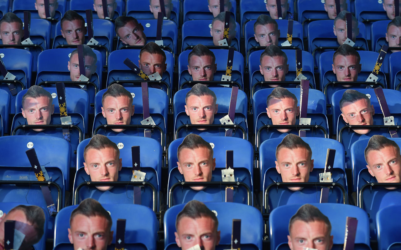 Jamie Vardy masks are left on the seats ahead of the English Premier League football match between Leicester City and Everton at King Power Stadium in Leicester, central England on December 26, 2016. Vardy will miss this afternoon's game after being sent off against Stoke. / AFP PHOTO / Paul ELLIS /