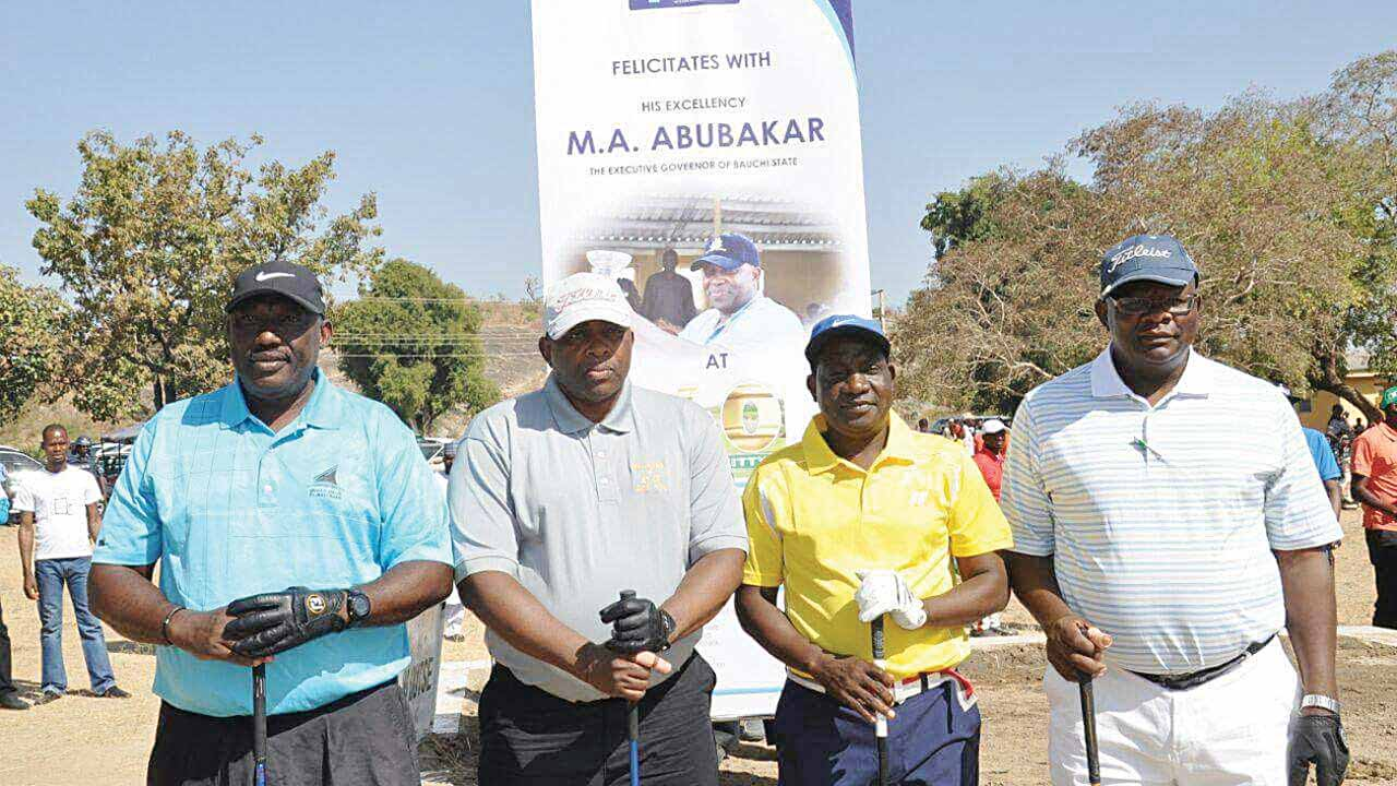 J.K. Gadzama, SAN (left); Bauchi State Governor, M.A. Abubakar; Governor Simon Lalong of Plateau State and First Vice President of Nigeria Bar Association, Caleb Dajan, at the tournament organized for the Plateau State governor at the Lamingo Golf Club, Jos.