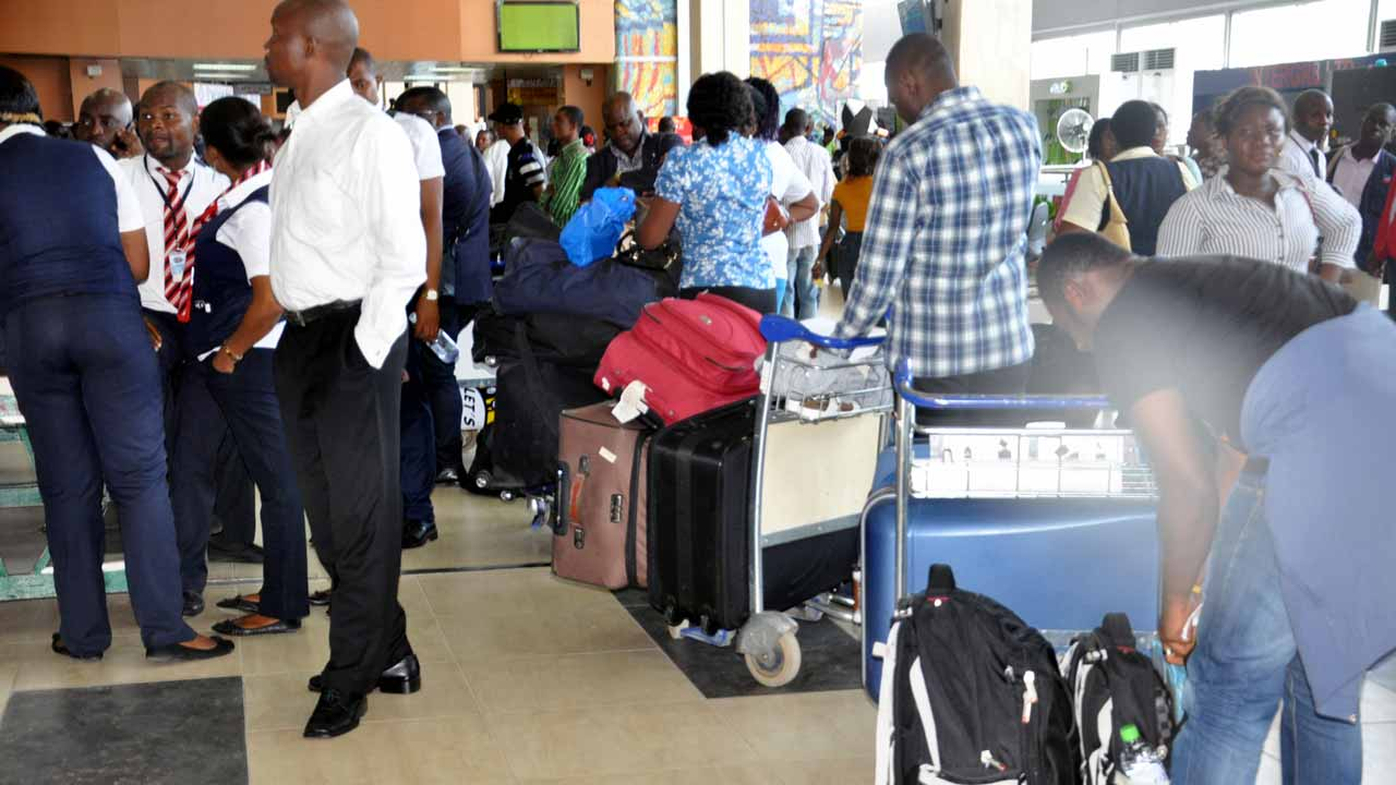 Air passengers stranded at airports.