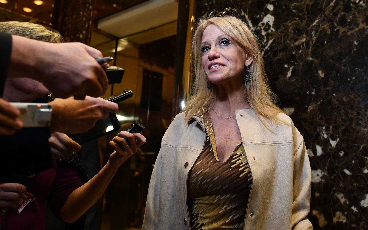 US President-elect Donald Trump's campaign manager Kellyanne Conway speaks to the press as she arrives at the Trump Tower in New York.  Trump on December 21, 2016, named Conway, credited with crafting much of the strategy that carried him to last month's shock election victory, to the post of counselor to the president. / AFP PHOTO / Jewel SAMAD